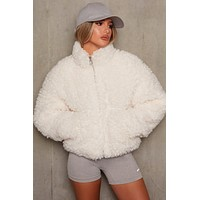 fhotwinter19 Women's new plush short lamb wool coat