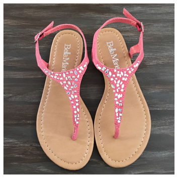 """""""Fun Time, Any Time"""" Crystal Accented Coral Suede Sandals"""