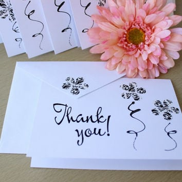 Elegant Hand Painted Thank You Card Set of 10 , Black and White Note Card , Blank Inside