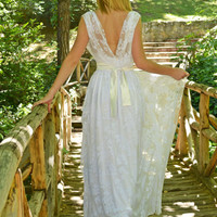 Floral White Lacen Wedding Dress / Gown / Vintage / Maxi - Handmade Gown / Free Shipping