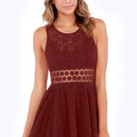 Afternoon in the Park Burgundy Lace Dress