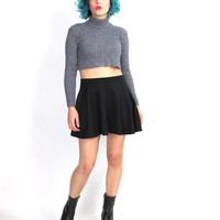 90s Turtleneck Sweater Crop Top Midriff Cropped Sweater Grey Mock Neck Jumper Stretchy Ribbed Knit Minimalist Winter Sweater (XS/S/M)