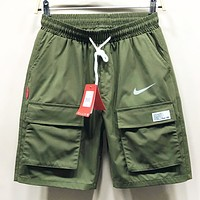 NIKE New fashion hook print couple shorts Army Green