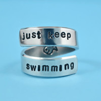 just keep swimming -  Hand Stamped Aluminum Spiral RIng, Motivational Ring, Inspirational Message Ring