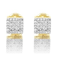 10K Gold Square Shape Genuine Diamond Designer Earrings