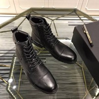 Prada  Trending Women Black Leather Side Zip Lace-up Ankle Boots Shoes High Boots