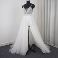 Spaghetti Strap Split Wedding Dress with Luxury Beading Tulle Layer Romantic