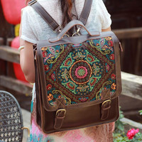 Handmade Large Embroidered Backpack Laptop Bag Genuine Leather Travel Bag