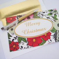 Hand painted floral Christmas holiday greeting card