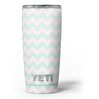 The Coral and Mint Chevron Pattern - Skin Decal Vinyl Wrap Kit compatible with the Yeti Rambler Cooler Tumbler Cups
