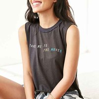 Corner Shop Waves Cropped Muscle Tee- Black