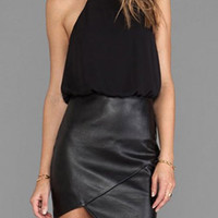 Black Halter Sleeveless Faux Leather Splicing Dress
