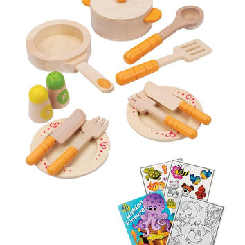 Hape E3103 Gourmet Kitchen Starter Wooden Play Food Set with Coloring Book