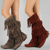 Womens Fringe Boots Tall Tassle Moccasin Faux Suede Brown Black Blue Flat Heel