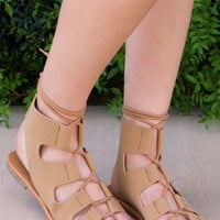 Marielle Lace Up Sandals - Tan
