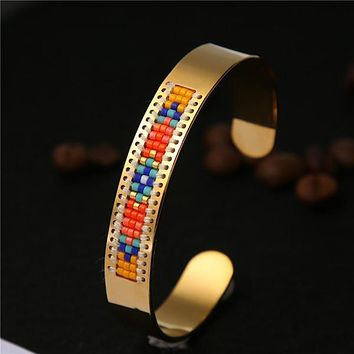 Stainless Steel Seed Beads Open Boho Bangle