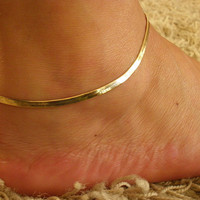 "10"" Gold GP 2mm Flexible Herringbone Ankle leg Bracelet Anklet"