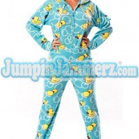 Blue Ducks - Drop Seat Pajamas - Pajamas Footie PJs Onesuit One Piece Adult Pajamas - JumpinJammerz.com