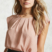 Pleated Triangle Print Blouse
