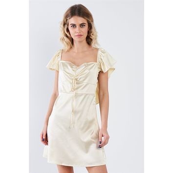 Golden Yellow Silk Square Neck Butterfly Sleeve Chic Mini Dress