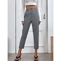 Gingham Button Detail Pants