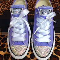 Rhinestone Converse with Ribbon Shoelaces