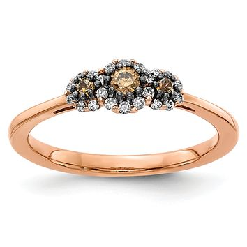 14k Rose Gold 3-stone White/Champagne Real Diamond Ring
