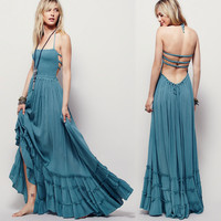women Boho dress people maxi Bohemian beach dres solid colors strapless bare back cocktail party chic  hippie dress for women