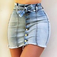 Summer New Women Sexy Button Tight Denim Skirt Casual Solid Color Lace-Up Slim Mini Skirt