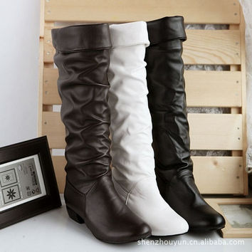 New Arriver Snow Boots size 34-39 Square High Heels Knee High Winter Shoes for Women Sexy Warm Fur Buckle Fashion Boots = 1932527812