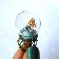 Mythical Mermaid Ring. Mermaid under a glass dome on a ring. Terrarium ring. Diorama. Summer ring.