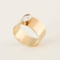Modernist 14K Gold Ring 1964 Quartz Finland Scandinavian 1960s Solid Band Minimalist Simple Design