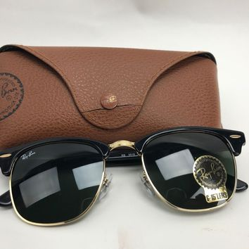 Ray-Ban Clubmaster Sunglasses RB3016 W0365 Black Frame/G-15 BlackLens 51-21mm