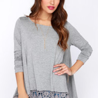 Just Like Vacation Grey Long Sleeve Top