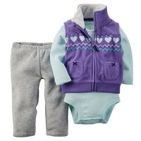 Carter's Microfleece Vest Set - Baby Girl, Size: