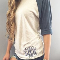 Blue Gray Embroidered Long Sleeve Letter T-Shirt