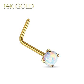 Nose Ring 14Kt. Gold L-Shape Prong Set Opal 20G Body Piercing Jewelry