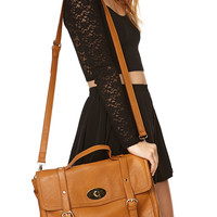 Iconic Faux Leather Messenger Bag