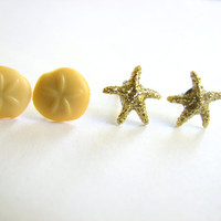 Two Pairs Sand Dollar and Starfish Earring Set, Beach Stud Earring in Gold and Yellow Fun Cute Studs Gifts for Her Stocking Stuffer Nautical