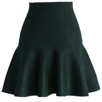 Patterned Mini Skater Skirt in Dark Green Green S/M