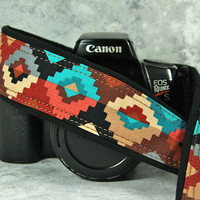 Southwest dSLR Camera Strap, Tribal, Two lengths available, Terracotta, Turquoise, Aqua,Tan, Brown, Black, Coral, SLR, 169 ww