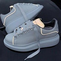 Alexander Mcqueen 19ss 3M Reflective Hot Sale Women Personality Thick Sole Sport Shoes Sneakers