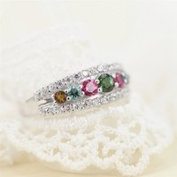 Magic Pieces Sterling Silver Ring with Multicolor Round Tourmalines and CZ J1122