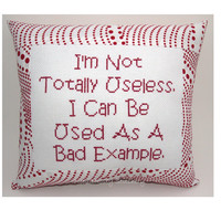 Funny Cross Stitch Pillow Cross Stitch Quote Red by NeedleNosey