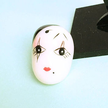 Mime Mask Pin - Mime Face - Clown Mask - Vintage Clown - Drama - Theatrical - Mask - Mime Brooch - Tie Tack - Small Pin