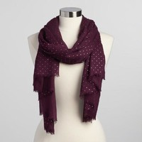 Burgundy and Gold Polka Dot Scarf