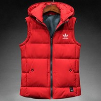 ADIDAS 2018 new autumn and winter warm casual light sports down cotton vest red