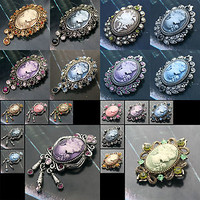 Lovely Crystal Vintage Lady Cameo Pin Brooch /COZ1