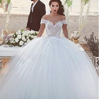 [188.99] Fantastic Tulle & Lace Off-the-shoulder Neckline Ball Gown Wedding Dresses With Beaded Lace Appliques - dressilyme.com
