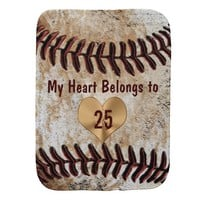 Baseball Burp Cloth My Heart Belongs to Daddy's